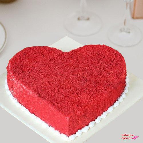 Delicious V-Day Heart Shape Red Velvet Cake