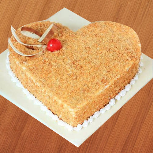 Shop Online Butter Scotch Cake in Heart Shape