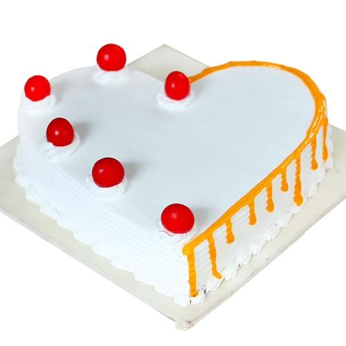 Send Heart-Shape Vanilla Cake Online