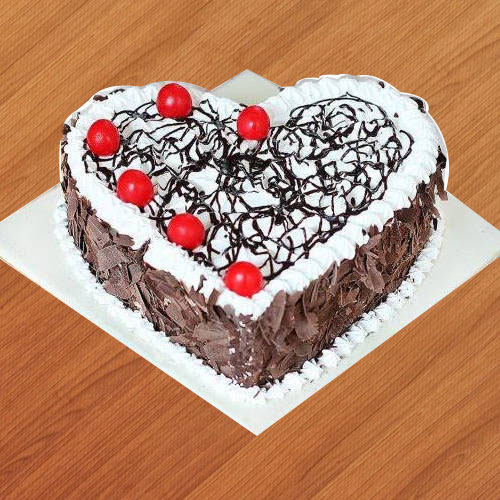 Deliver Heart Shape Black Forest Cake
