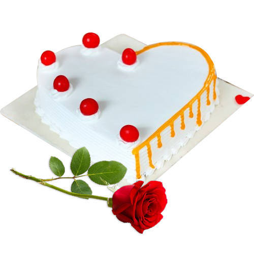 Buy Online Heart-Shape Vanilla Cake with Single Rose