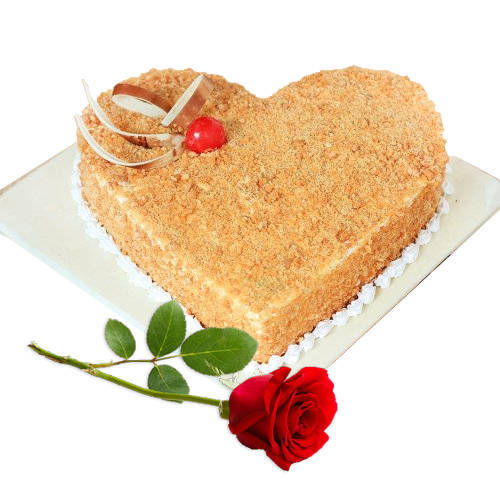 Gift Butter Scotch Cake in Heart-Shape with Single Rose