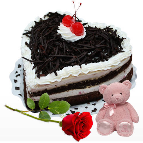 Gift Online Heart Shape Black Forest Cake with Single Rose N Teddy