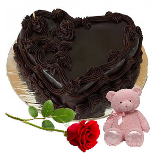 Order Online Heart Shape Chocolate Cake with Teddy N Red Rose