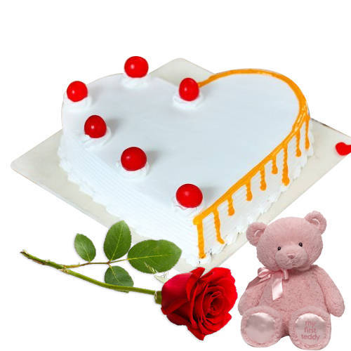 Deliver Heart-Shape Vanilla Cake with Single Rose N Teddy Online