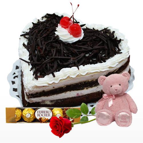 Order Online Heart-Shape Black Forest Cake with Ferrero Rocher, Teddy N Single Rose