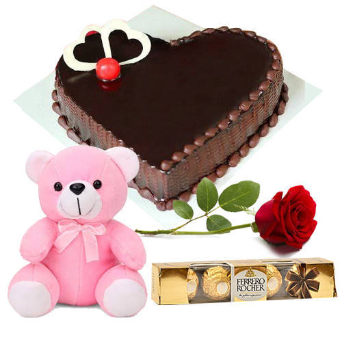 Gift Online Heart-Shape Chocolate Cake with Ferrero Rocher, Red Rose N Teddy
