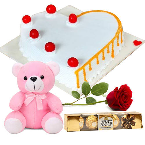 Online Heart-Shape Vanilla Cake with Red Rose, Ferrero Rocher N Teddy