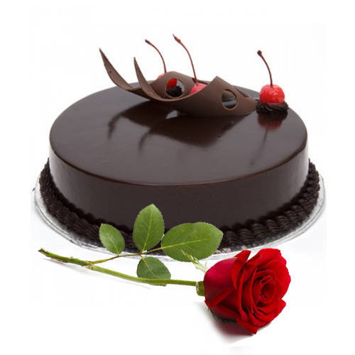 Order Online Eggless Chocolate Cake with Single Rose