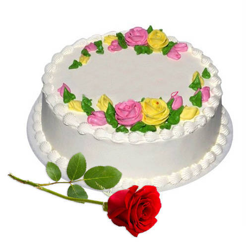 Online Combo of Eggless Vanilla Cake with Single Rose