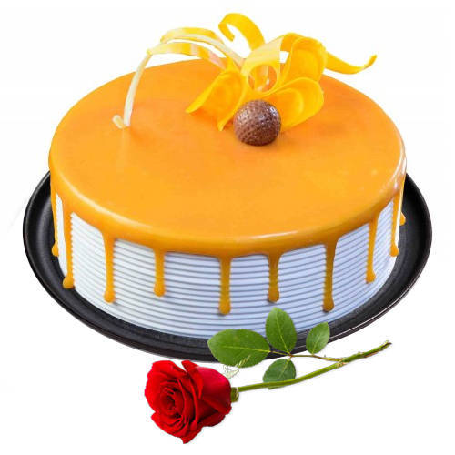 Online Deliver Eggless Butter Scotch Cake with Single Rose