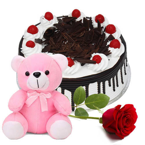 Shop for Eggless Black Forest Cake with Teddy N Rose