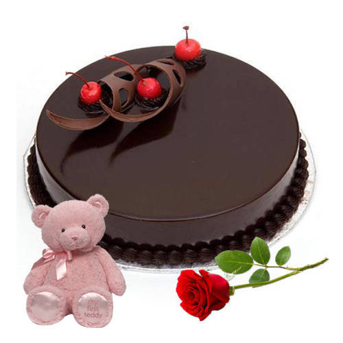 Shop Eggless Chocolate Cake with Single Rose N Teddy Online