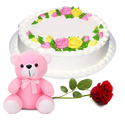 Book Online Eggless Vanilla Cake with Single Rose N Teddy