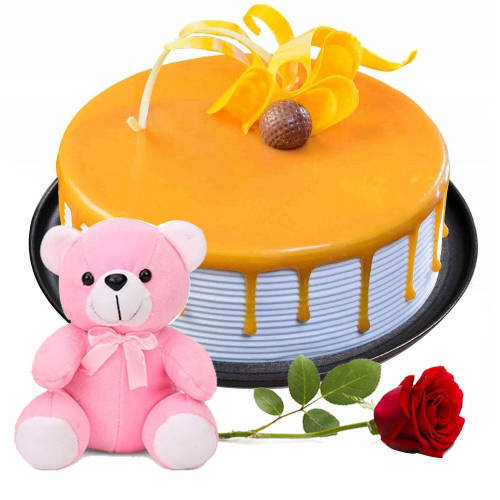 Gift Online Eggless Butter Scotch Cake with Single Rose N Teddy