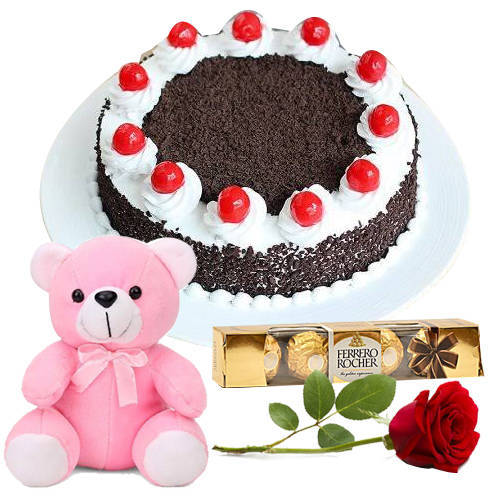Send Eggless Black Forest Cake with Teddy, Single Rose N Ferrero Rocher Online
