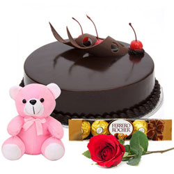 Deliver Online Eggless Chocolate Cake with Ferrero Rocher, Teddy N Red Rose