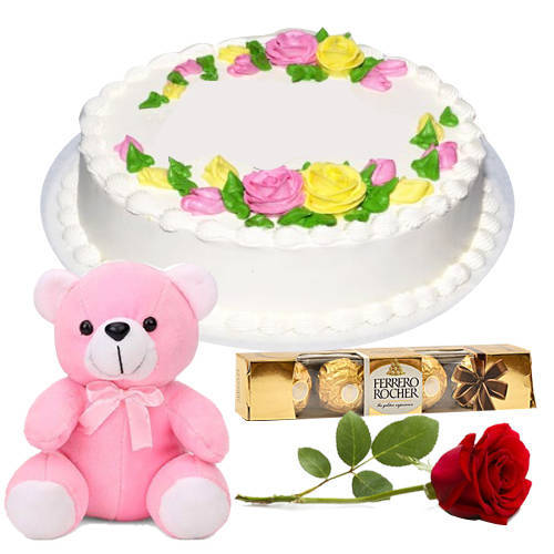 Shop Eggless Vanilla Cake Online with Red Rose, Teddy N Ferrero Rocher