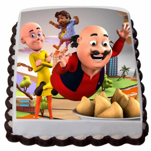 Online Order Kids Motu Patlu Photo Cake