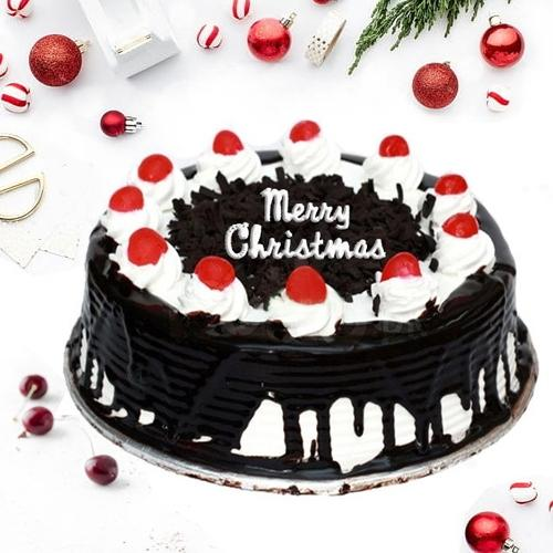 Irresistible Merry Christmas Black Forest Cake
