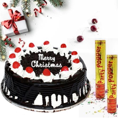 Flavored Black Forest X_mas Cake with Party Poppers