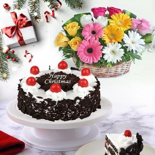 Sweet Black Forest Cake N Fresh Flower Basket for X_mas