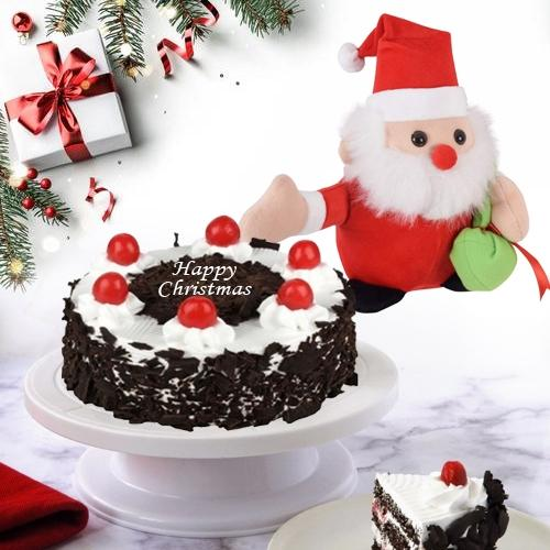 Moist Black Forest Cake N Santa Clause X Mas Gift Combo