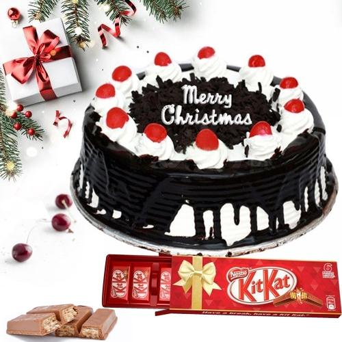 Sumptuous XMas Combo of Black Forest Cake N Kitkat Chocolate