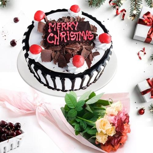 Beautiful Combo of Black Forest Xmas Cake N Rose Bouquet