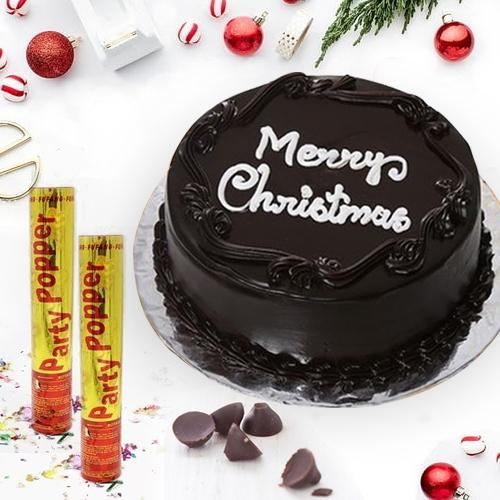 Finest Holiday Special Chocolate Cake with Party Poppers