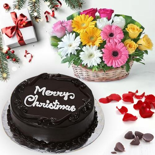 Heavenly Chocolate Cake with Seasonal Flower Basket