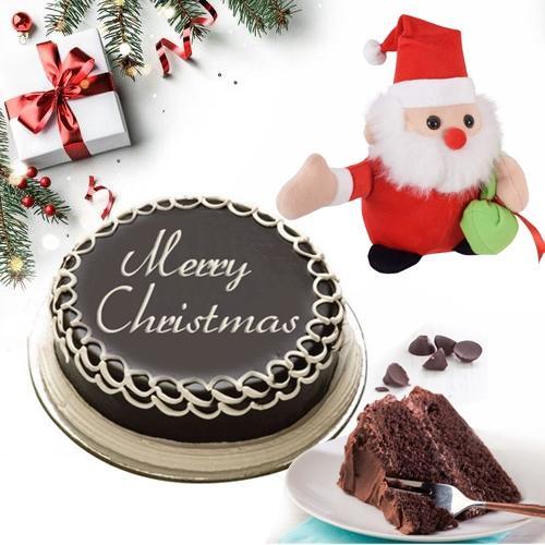 Luscious Merry_Xmas Chocolate Cake with Santa Clause