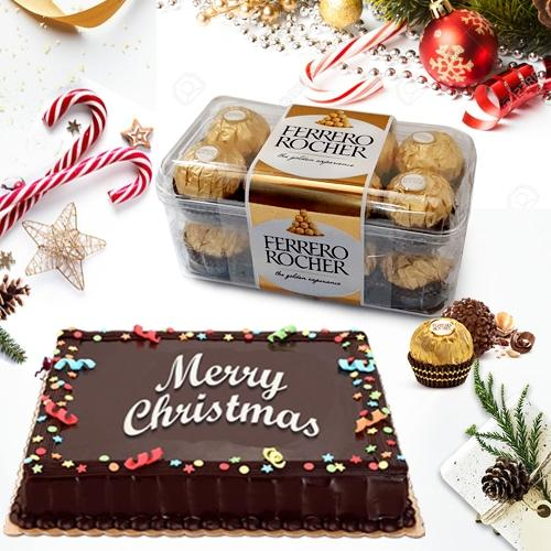 Delicate Merry_Xmas Chocolate Cake with Ferrero Rocher