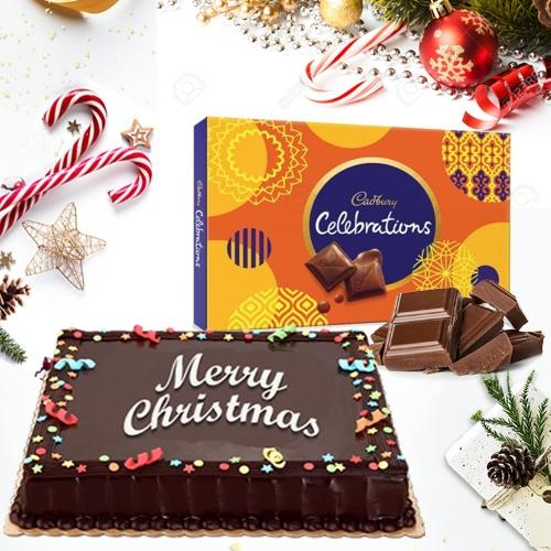 Chocolaty Cake with Cadbury Celebration Pack for Xmas