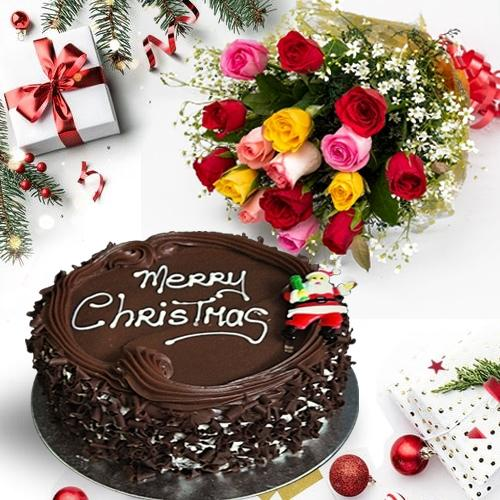 Sweet X Mas Chocolate Cake with Assorted Roses Bouquet
