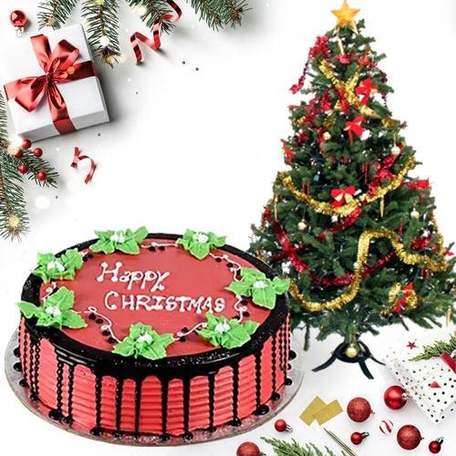 Eye-Catching X-mas Tree with Tasty Strawberry Cake