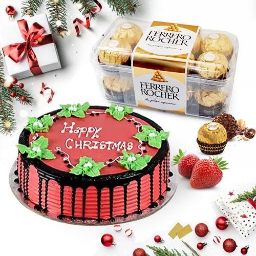 Sumptuous Merry_Xmas Strawberry Cake with Chocolates