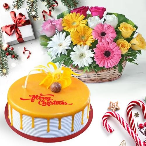 Fresh Flower Basket with Delicious Butterscotch Cake