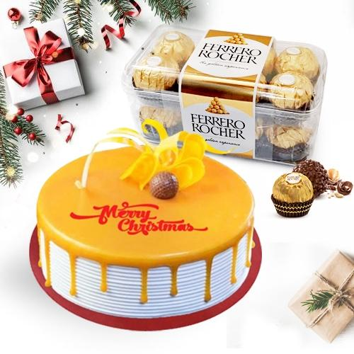 Flavored Butterscotch Cake with Ferrero Rocher for X-mas