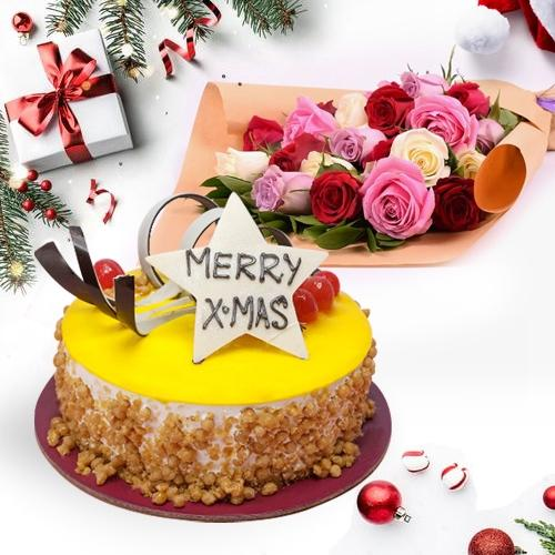 Delectable Butterscotch Cake with Assorted Roses Bouquet