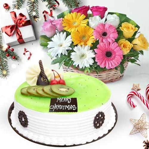 Exquisite Kiwi Cake with Seasonal Flowers Basket