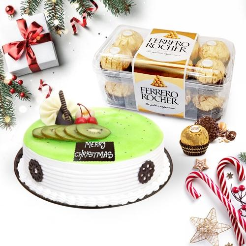 Mouth-Watering Kiwi Cake with Ferrero Rocher Chocolate Box