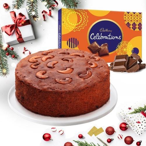 Marvelous Dry Plum Cake with Cadbury Celebrations Pack