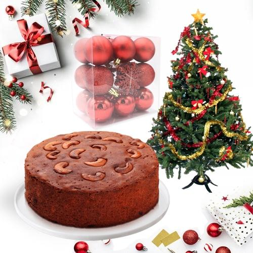 Exclusive Dry Plum Cake with Christmas Tree n Decorations