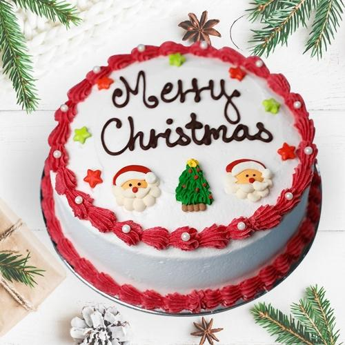 Exquisite Merry Christmas Vanilla Cake