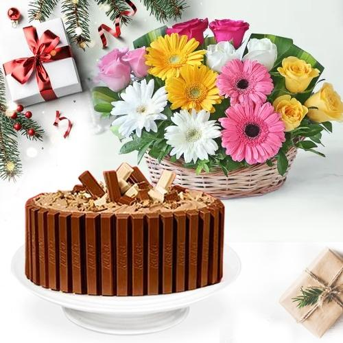Chocolaty KitKat Cake with Mixed Flower Basket