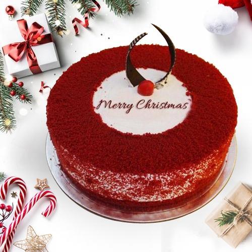 Beautiful Merry_Xmas Red Velvet Cake