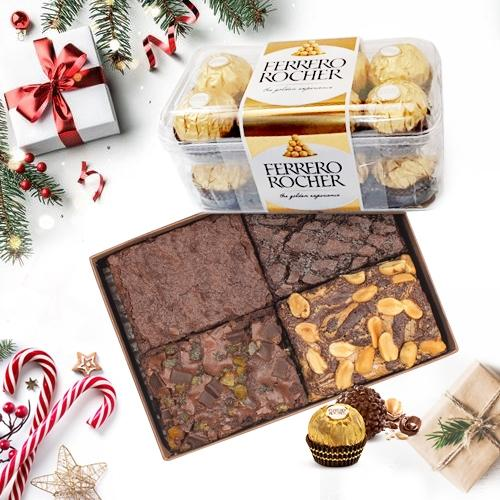 Amazing Xmas Pack of Brownies with Ferrero Rocher