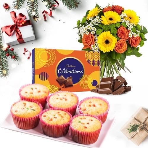 Marvelous Combo of Muffins with Chocolates n Flowers Bouquet for X_Mas