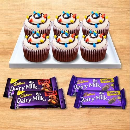 Delicious Combo of Cup Cakes N Cadbury Chocolates